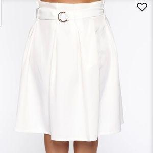 Fashion Nova White Midi Skirt